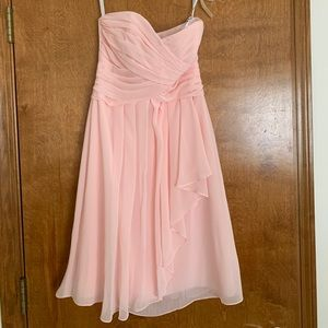 David's bridal pink chiffon bridesmaid dress size2